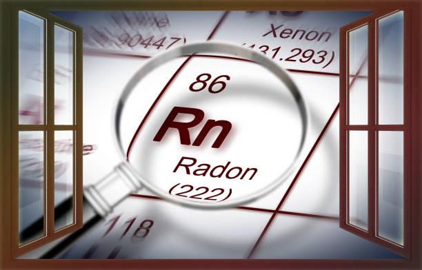 het gevaar van radongas in onze huizen - concept afbeelding met periodiek systeem der elementen en gezien door een venster vergrootglas - radon test stockfoto's en -beelden