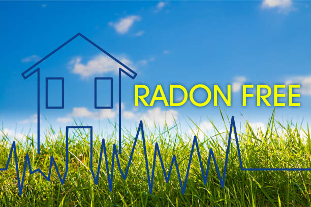 The danger of radon gas in our homes - Radon free concept image with check-up graph about radon air testing stock photo