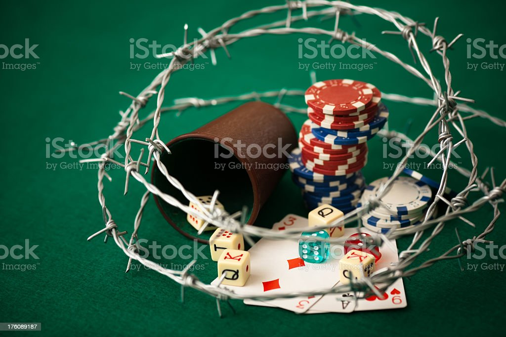 The dangers of gambling and playing cards stock photo
