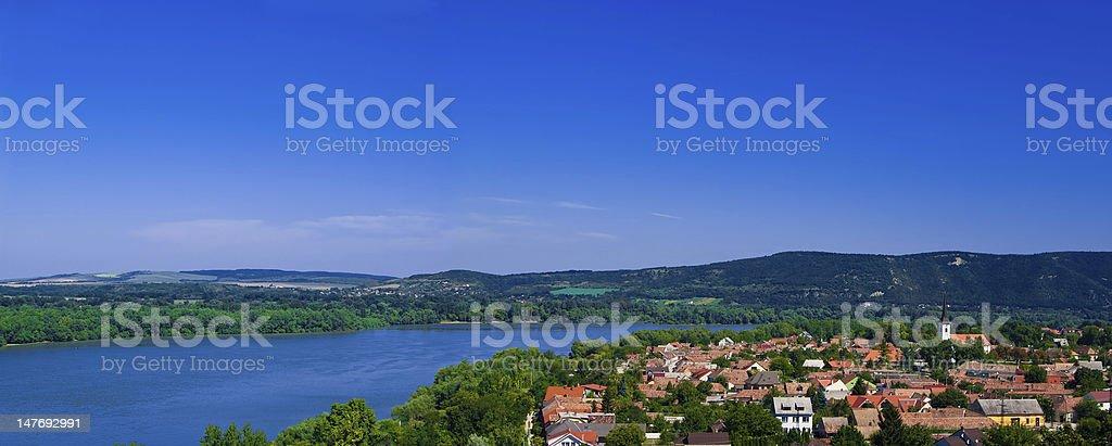 The Danube curve panorama stock photo