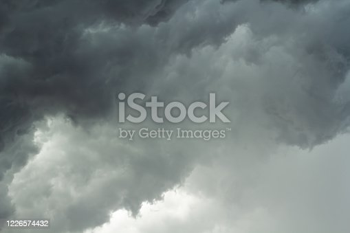 1089986346 istock photo The dark sky with black clouds covered before the big storm will enter. The big powerful storm clouds before a thunder-storm. 1226574432