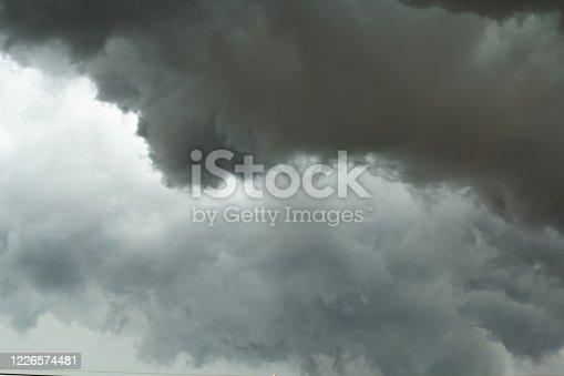 1089986346 istock photo The dark sky with black clouds covered before the big storm will enter. The big powerful storm clouds before a thunder-storm. 1226574481
