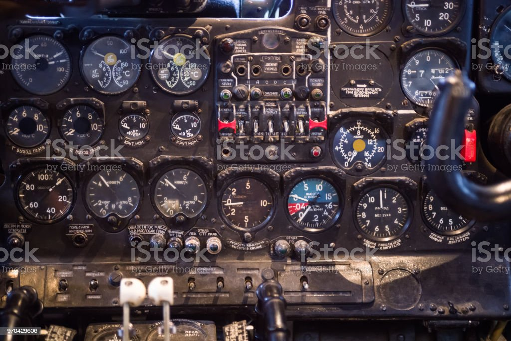 The dashboard of the old Soviet turboprop aircraft AN-24.  The aircraft out of production in 1979 stock photo