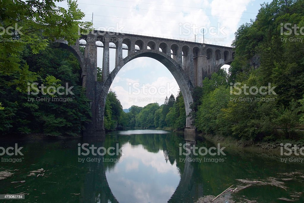 The Day bridge over the river Orbe stock photo