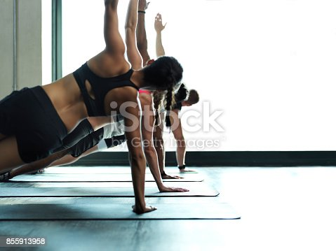 Shot of a fitness group working out together in a gym