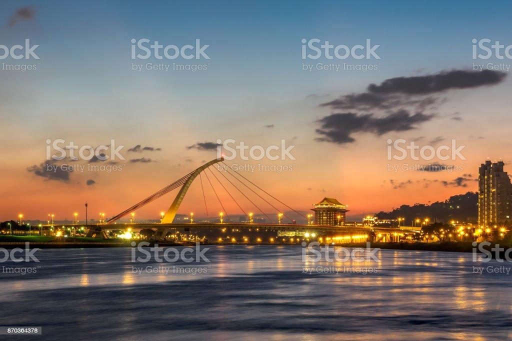 The Dazhi Bridge At Sunset In Taipei Taiwan Stock Photo