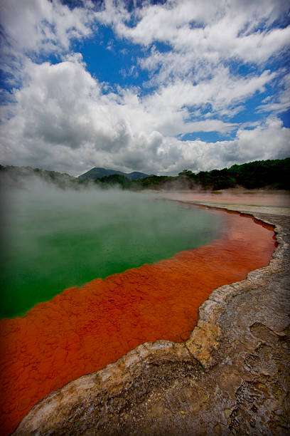the dazzlingly colorful champagne pool in new zealand - dazzlingly stock pictures, royalty-free photos & images