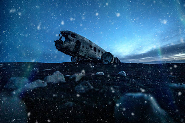 The DC-3 Plane wreck in Iceland The DC-3 Plane wreck in Iceland under the snow sólheimasandur stock pictures, royalty-free photos & images