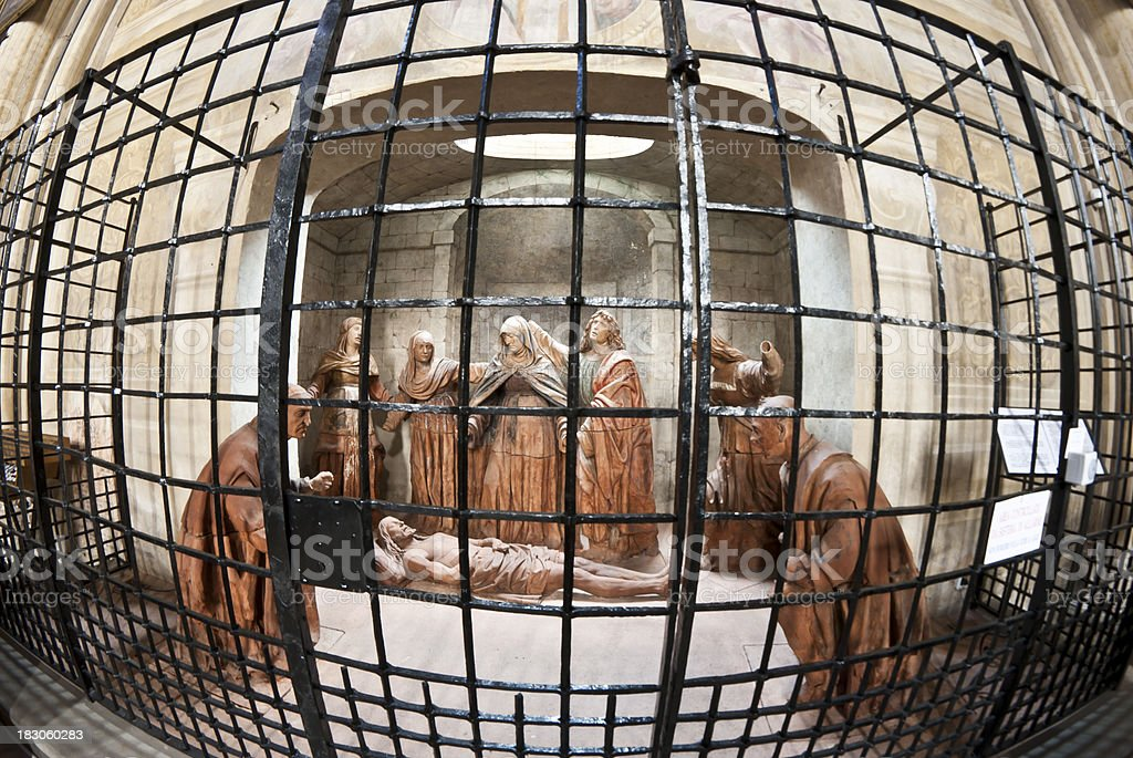 The Dead Jesus Christ sculpture in a cage stock photo