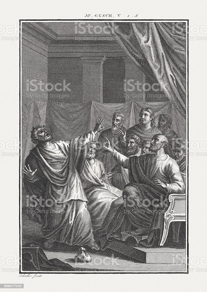 The Death of Ananias (Acts 5), copper engraving, published c.1850 stock photo