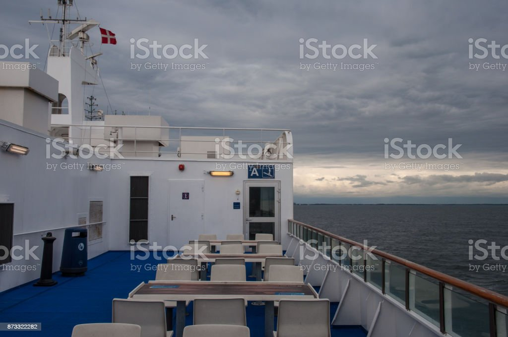 The deck of a Danish Ferry stock photo