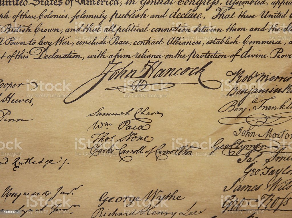 The Declaration Of Independence - John Hancock Signature stock photo