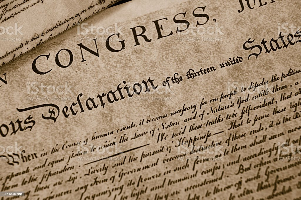 The Declaration of Independence stock photo