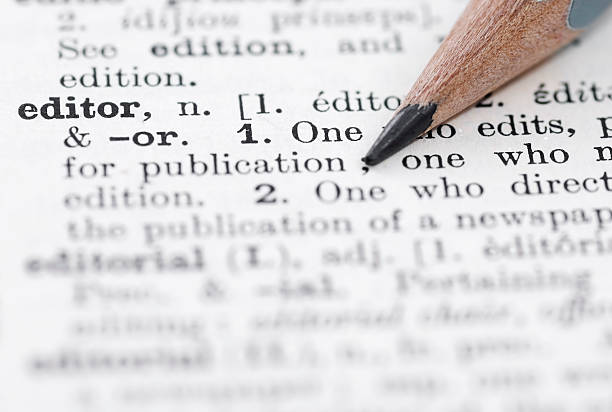 The definition of editor in a English dictionary stock photo