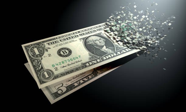 the dematerialization of money, dollars are dematerialized on a black background. - disintegrate stock pictures, royalty-free photos & images