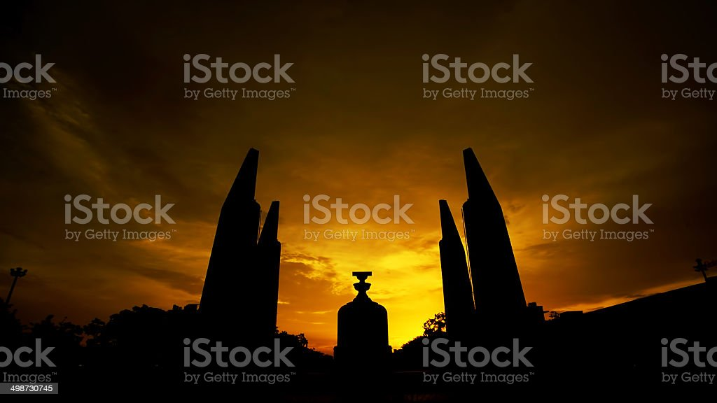 The Democracy Monument at twilight time stock photo