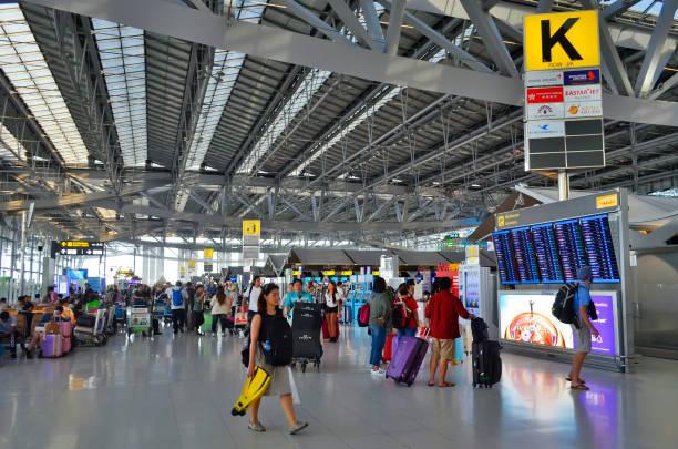 The departure area of Suvarnabhumi International Airport in Bangkok stock photo