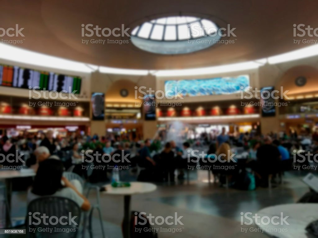 The departure hall of international airport. stock photo