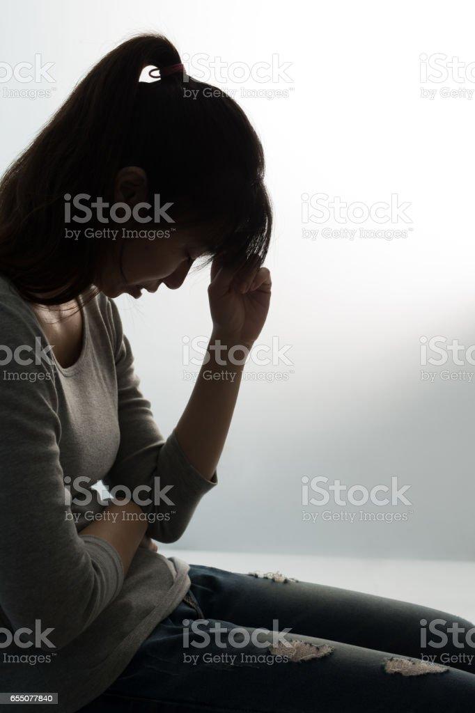 the depression woman stock photo
