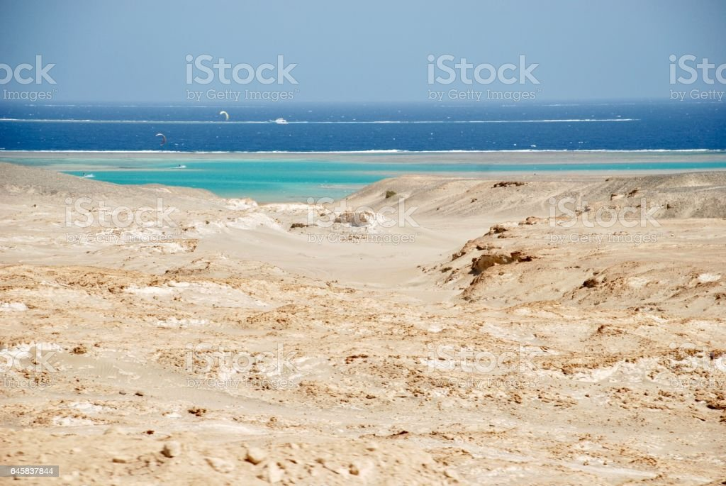 The desert and the Red Sea stock photo