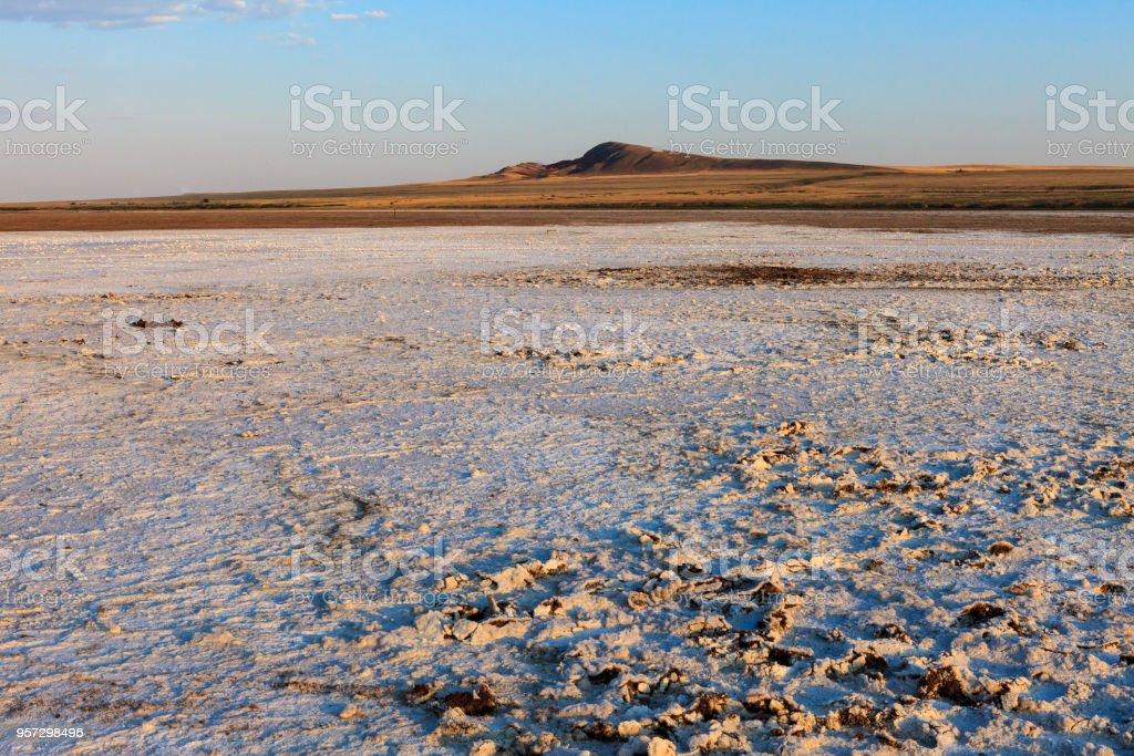 The desert landscape of the salt plains. stock photo