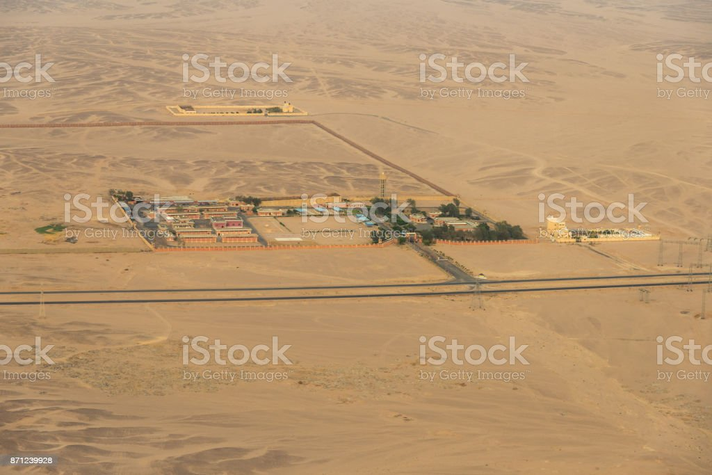 The desert of Egypt. View from the airplane stock photo