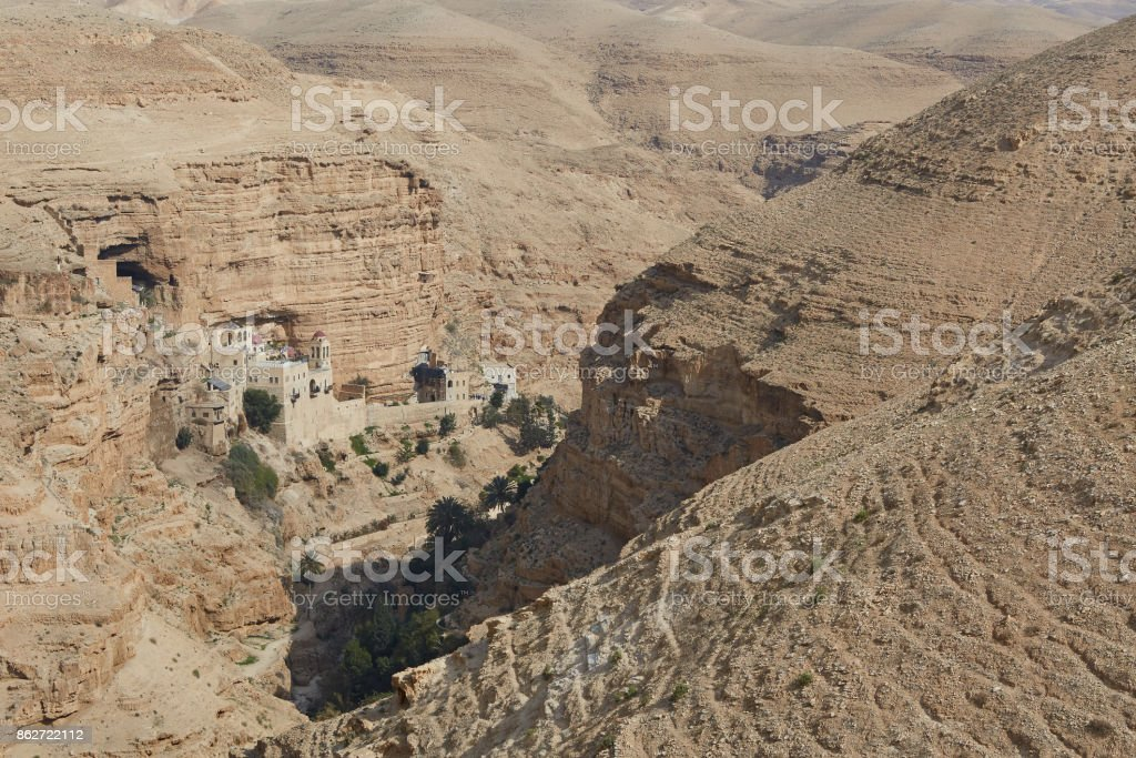 The desert of Judah. Monastery of Sts. John Koziby. stock photo