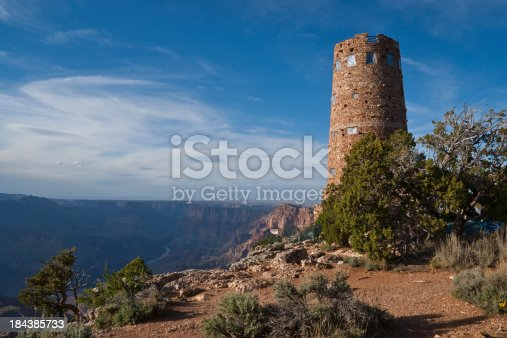 The Desert View Watchtower is a 70-foot high stone building located on the South Rim within Grand Canyon National Park in Arizona, USA. The four-story historic structure, completed in 1932, was designed by American architect Mary Colter who also created and designed many other buildings in the Grand Canyon vicinity including Hermit's Rest and the Lookout Studio.