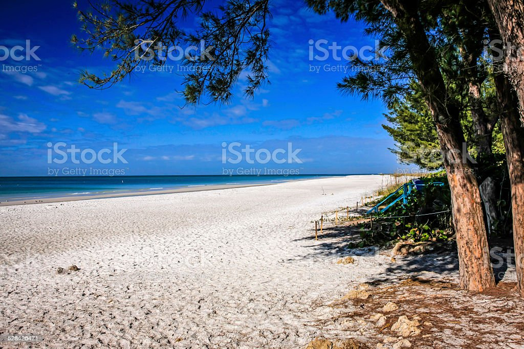 The deserted Anna Maria Island public beach in Florida stock photo