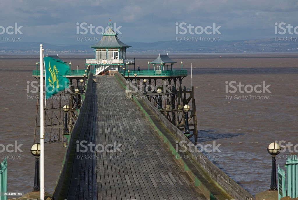 The deserted Victorian pier at Clevedon in winter UK stock photo