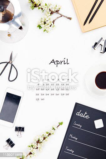istock The design of calendar for april 1135071959