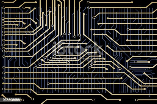 486162999istockphoto The design of golden circuit board. 958308688