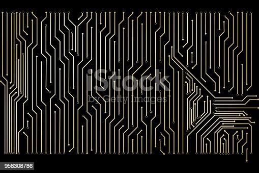 486162999istockphoto The design of golden circuit board. 958308786