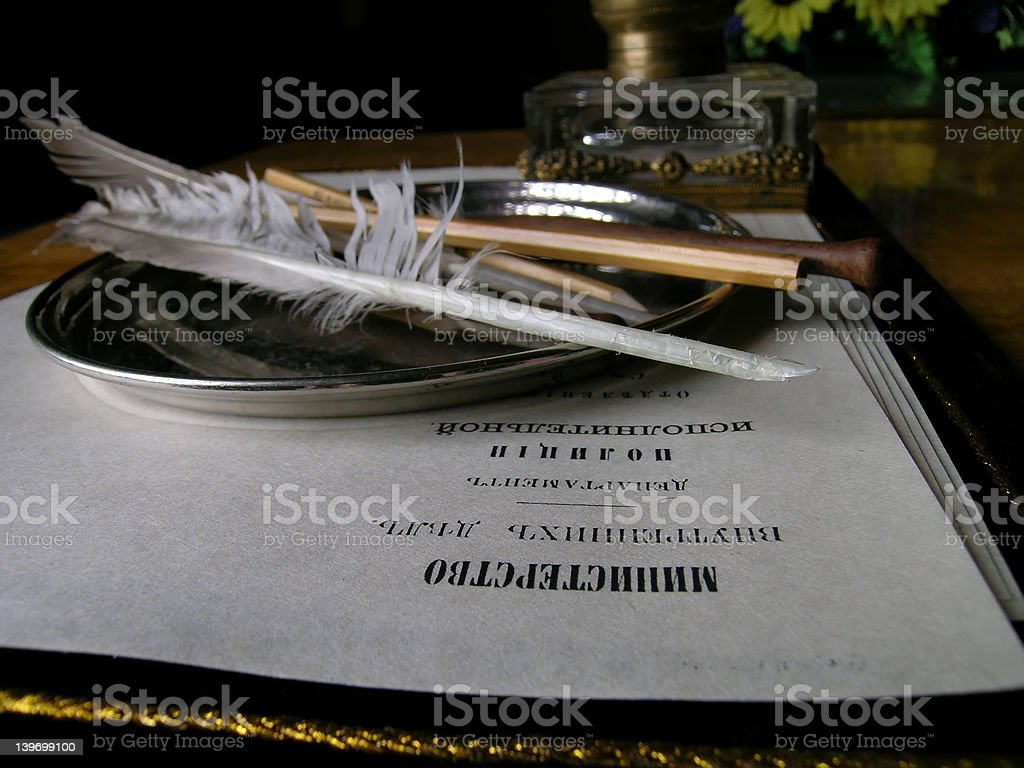 The desk with the things for writing royalty-free stock photo