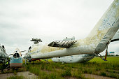 Old helicopters at dump on repairing factory in Tyumen. Russia