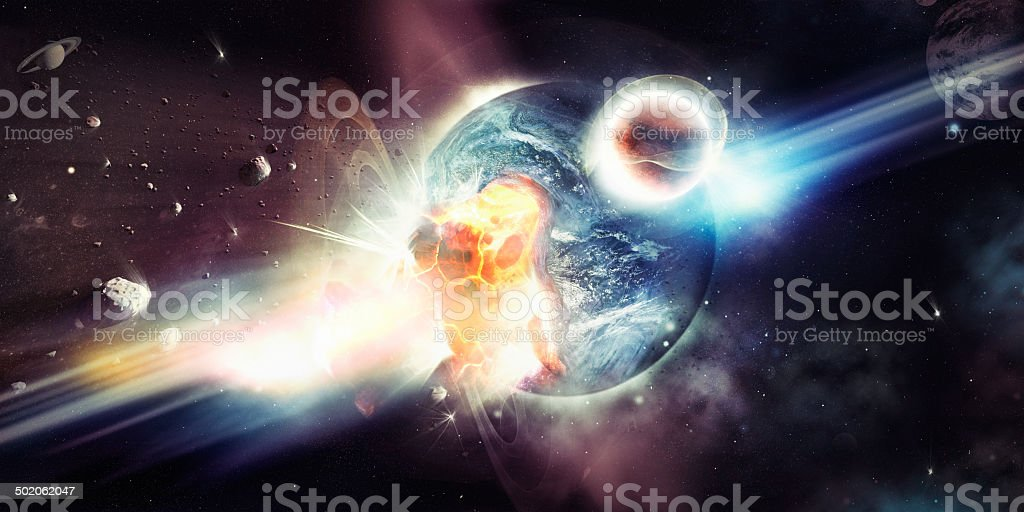 The destructive bombardment of a planet stock photo