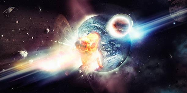 il bombardamento di un pianeta distruttiva - big bang foto e immagini stock