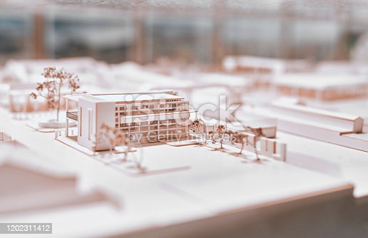 Closeup shot of an architectural model in an empty office