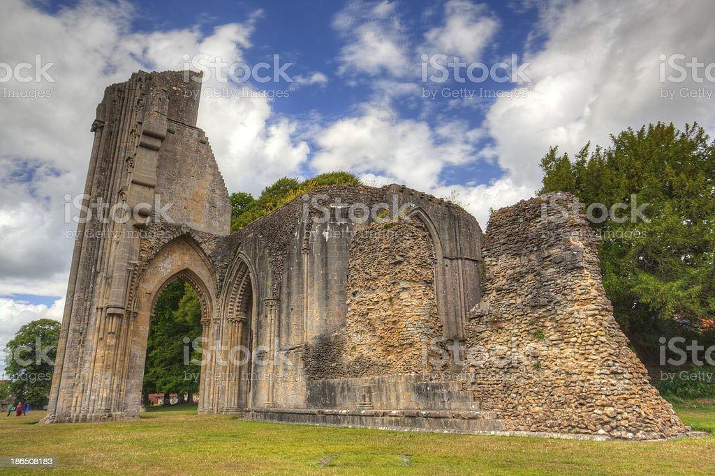 The detail of ruins abbey in Glastonbury royalty-free stock photo