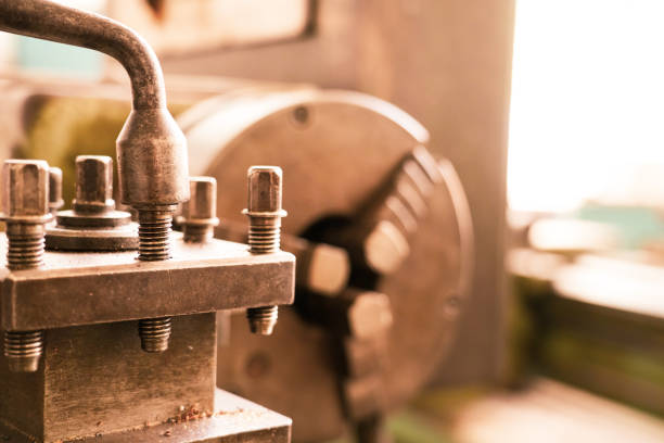 The details of an old lathe stock photo