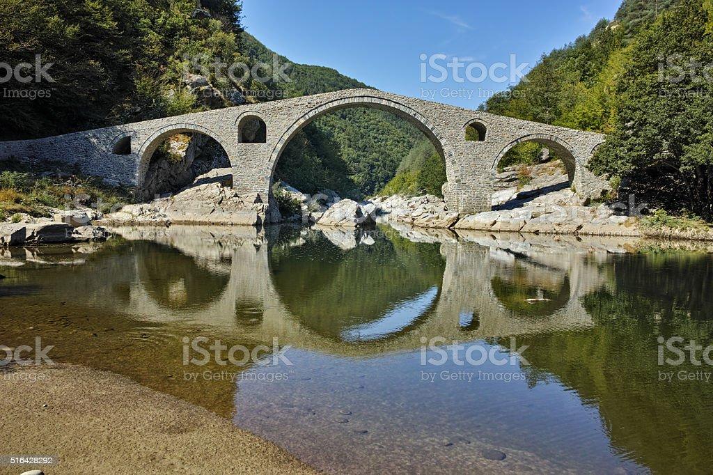 The Devil's Bridge in Arda river and Rhodopes mountain,Bulgaria stock photo