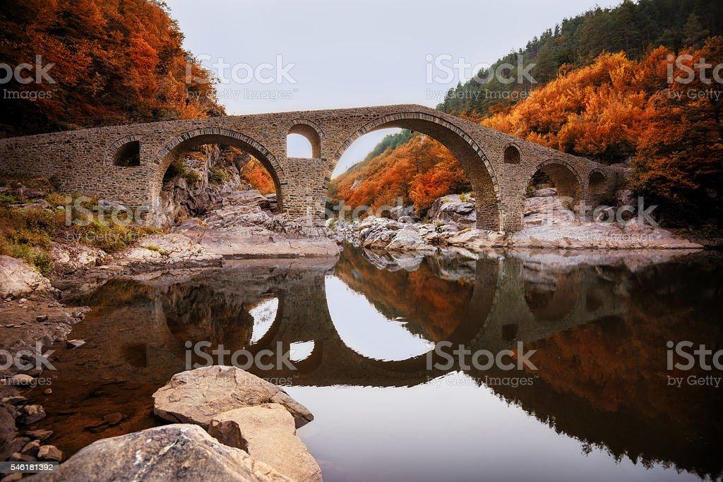 The Devil's bridge, near Ardino town, Bulgaria stock photo