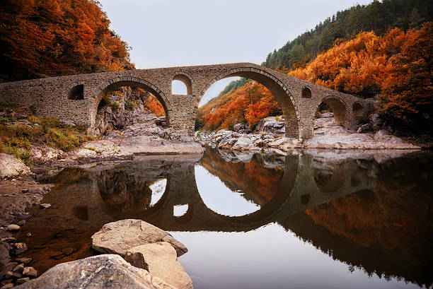 The Devil's bridge, near Ardino town, Bulgaria stock photo