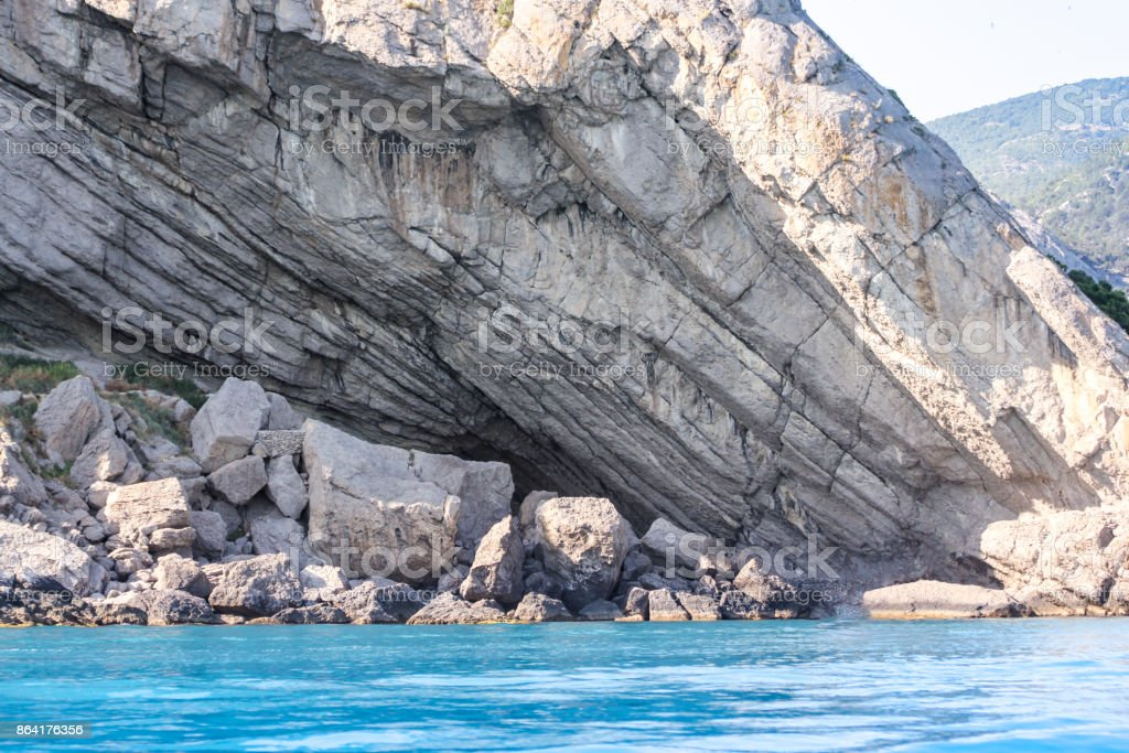 The diagonal layers of the rock. royalty-free stock photo