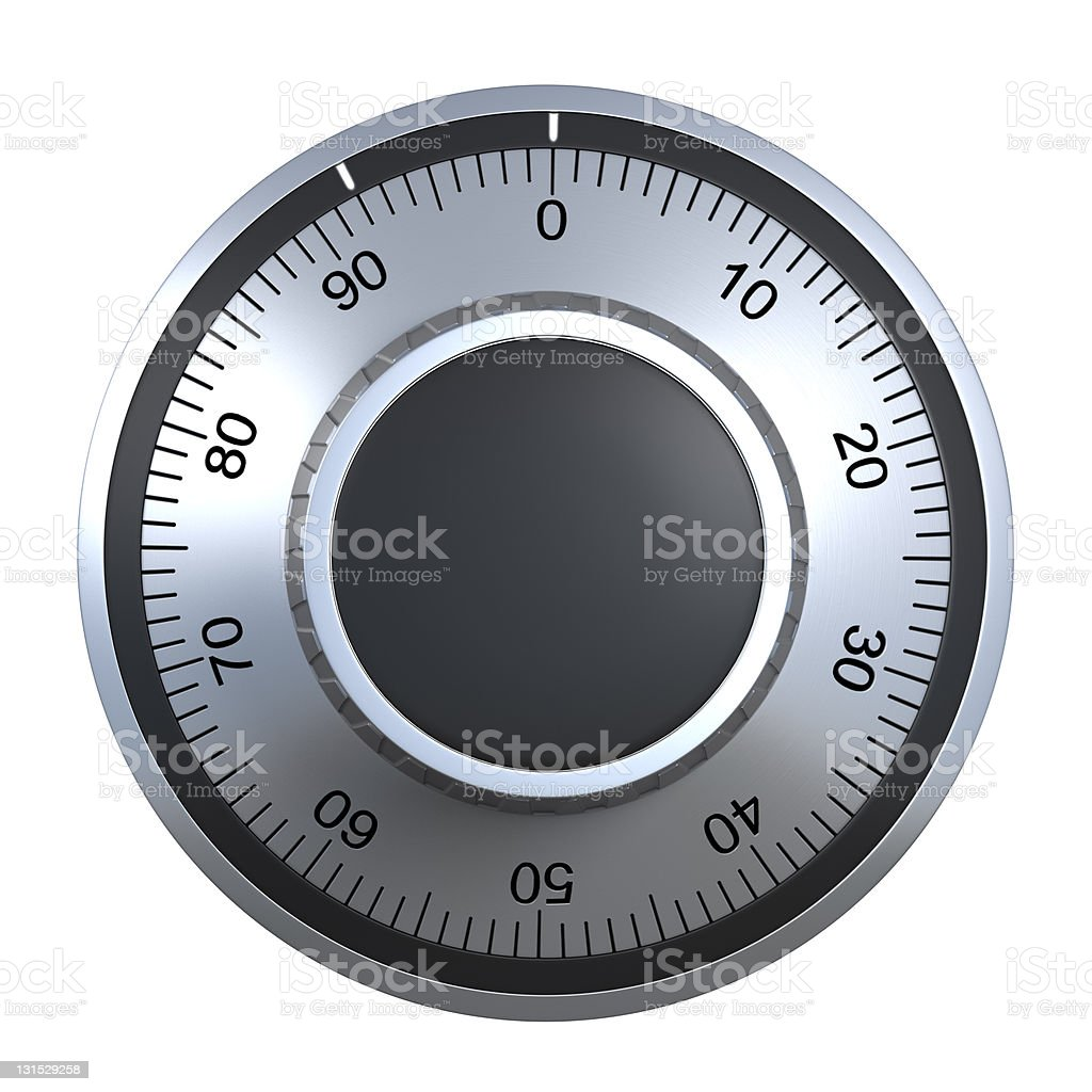 The dial of a silver combination lock with black markings royalty-free stock photo