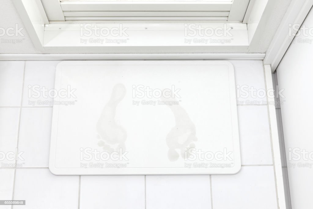 the diatomaceous earth bath mat stock photo