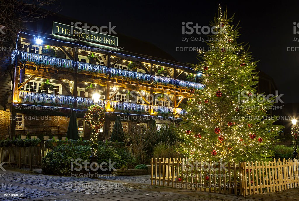 The Dickens Inn Public House at Christmas in London stock photo
