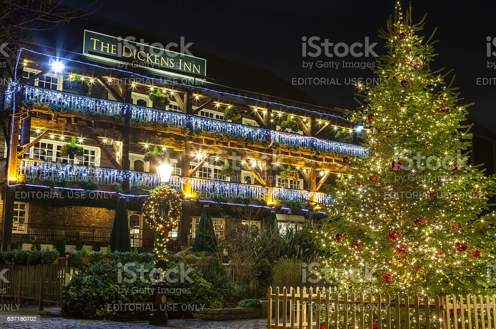The Dickens Inn Public House at Christmas stock photo
