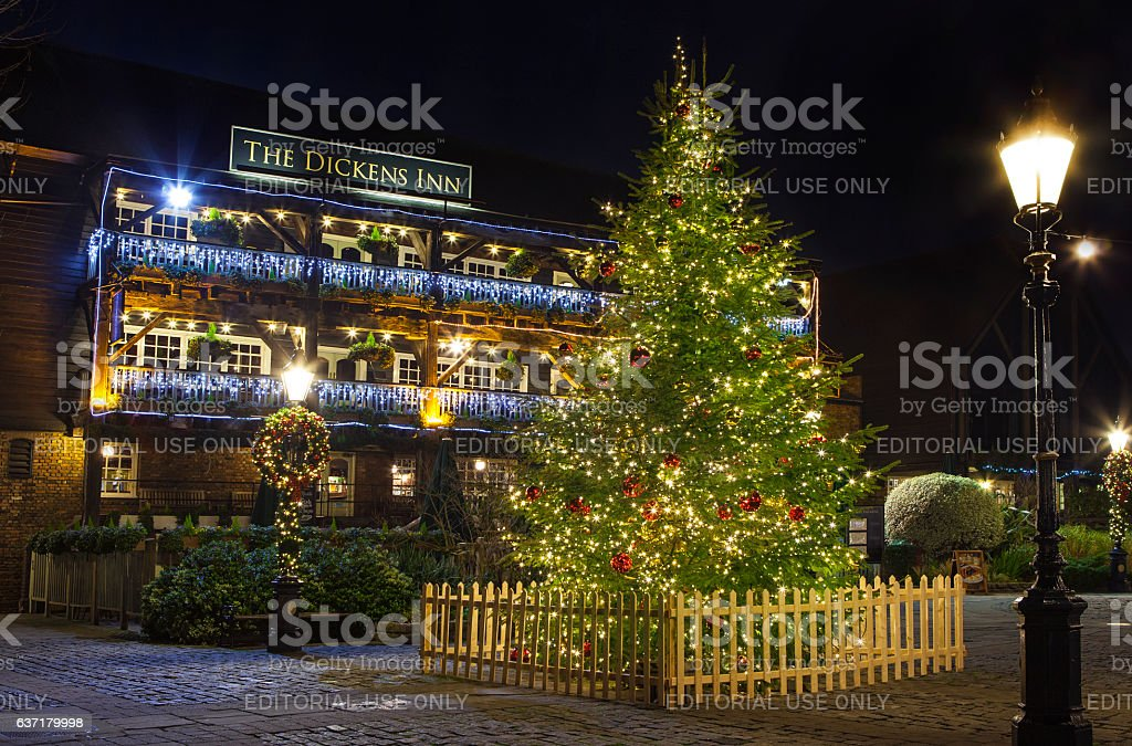 The Dickens Inn Public House in London at Christmas stock photo