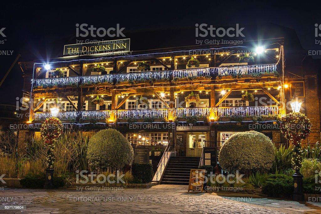 The Dickens Inn Public House in London stock photo